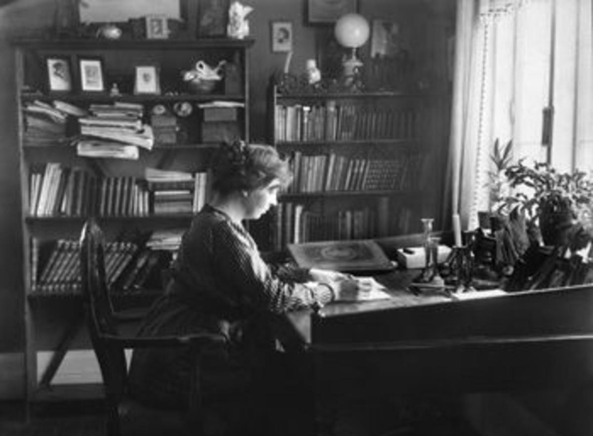 Sigrid Undset by her writing desk.